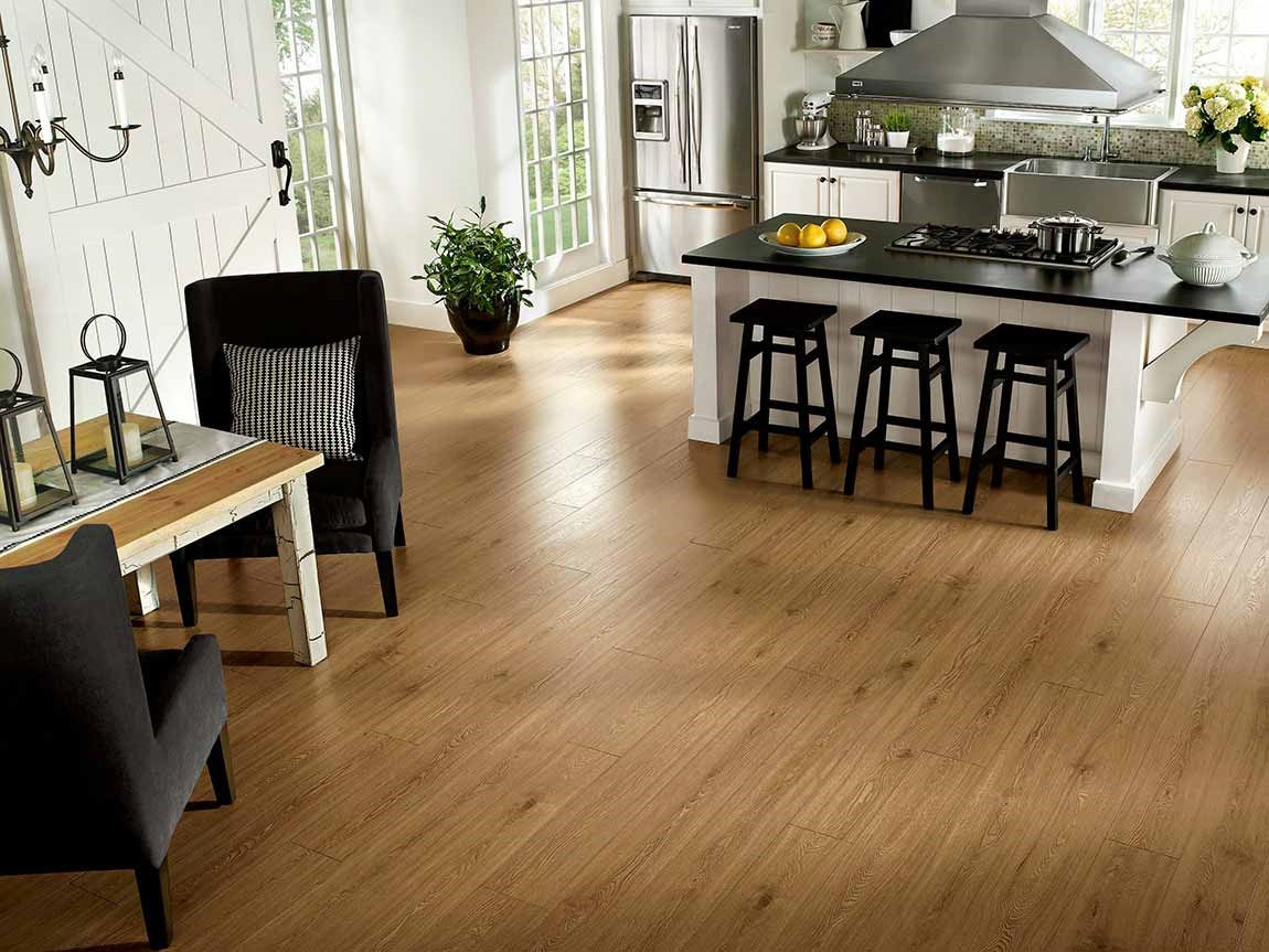 light brown colored laminate floor in modern kitchen