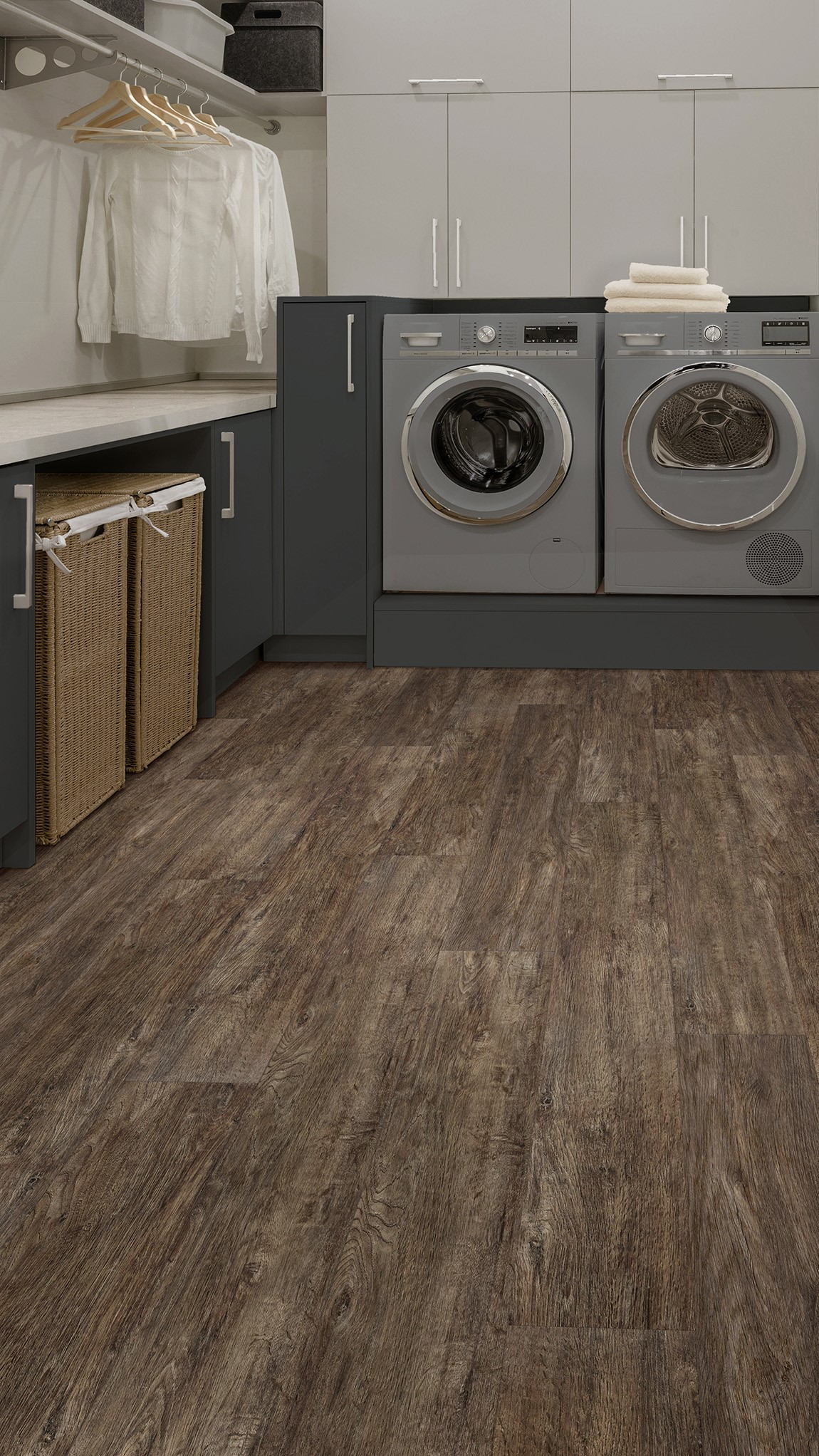 luxury vinyl tile in laundry room